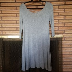 Grey Dress with Criss Cross back